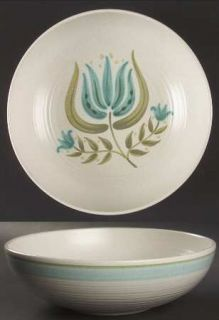 Franciscan Tulip Time 9 Round Vegetable Bowl, Fine China Dinnerware   Blue/Gree