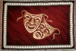 NEW Comedy Tragedy Deluxe Home Theater Throw Blanket in Burgundy