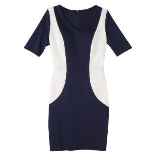 Merona Womens Ponte V Neck Color Block Dress   Navy/Sour Cream   S
