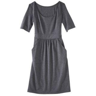 Merona Womens Ponte Elbow Sleeve Dress w/Pockets   Heather Gray   S
