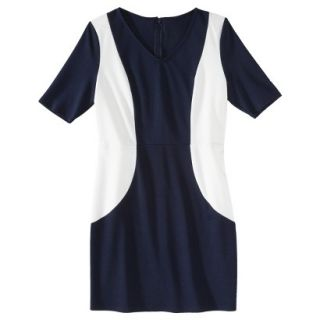 Merona Petites V Neck Colorblock Ponte Dress   Navy/Cream MP