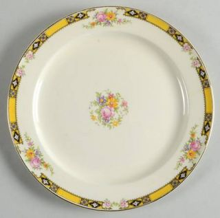 Edwin Knowles 402e1 Luncheon Plate, Fine China Dinnerware   Yellow Band W/Purple