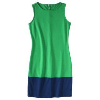 Merona Womens Ponte Color Block Hem Dress   Green/Blue   XXL