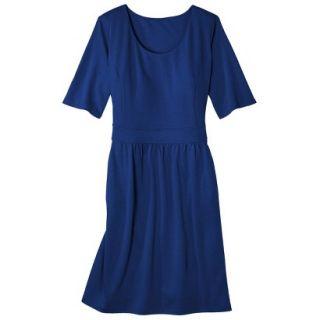 Merona Womens Plus Size Elbow Sleeve Ponte Dress   Blue 4
