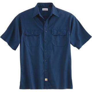 Carhartt Short Sleeve Twill Work Shirt   Navy, Large, Regular Style, Model S223
