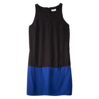 Merona Womens Colorblock Hem Shift Dress   Black/Waterloo Blue   18
