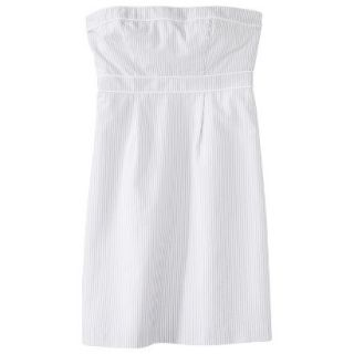 Merona Womens Seersucker Strapless Dress   Grey/White   2