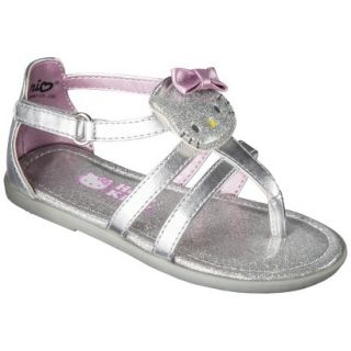 Toddler Girls Hello Kitty Sandals   Silver 13