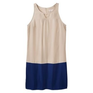 Merona Womens Colorblock Hem Shift Dress   Hamptons Beige/Waterloo Blue   L