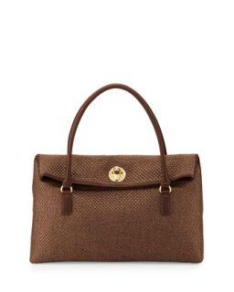 Borsa Tessuto Woven Foldover Bag, Brown