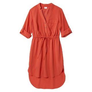 Merona Womens Drawstring Shirt Dress   Orange   S
