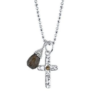 Silver Cross With Bead And Wrap Stone Necklace   Yellow