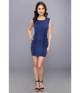 BCBGMAXAZRIA Renee Side Ruched Dress Womens Dress (Blue)