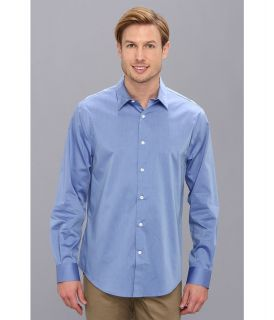 Perry Ellis Long Sleeve Twill Non Iron Shirt Mens Long Sleeve Button Up (Blue)