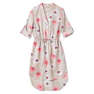 Merona Womens Drawstring Shirt Dress   Pink Floral   L