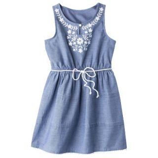 Girls Sleeveless Embellished Front Shirt Dress   Chambray S