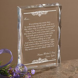 Personalized Keepsake Gifts for Mothers   Dear Mom Poem