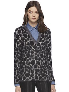 Gucci Leopard Effect Mohair V Neck Sweater   Black Leopard
