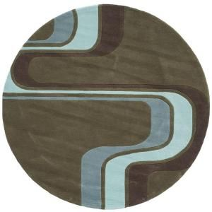 Young Buck Collection Army Green 5 ft. x 5 ft. Round Area Rug 17651