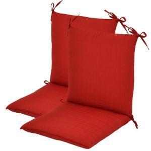 Hampton Bay Geranium Textured Mid Back Outdoor Chair Cushion (2 Pack) 7410 02220600
