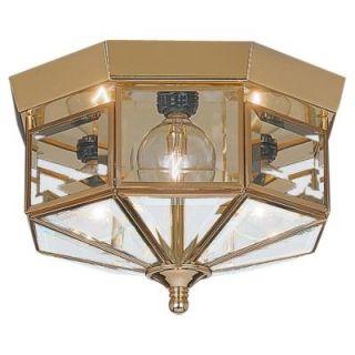 Sea Gull Lighting Grandover 3 Light Polished Brass Flush Mount Fixture 7661 02