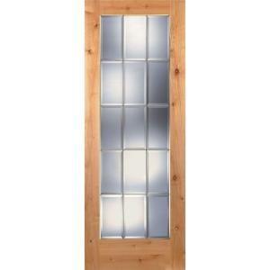 Feather River Doors 15 Lite Clear Bevel Brass Woodgrain 1