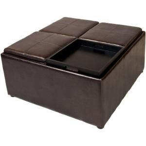 Simpli Home Avalon Square Faux Leather Coffee Table Storage Ottoman in Dark Brown F 07
