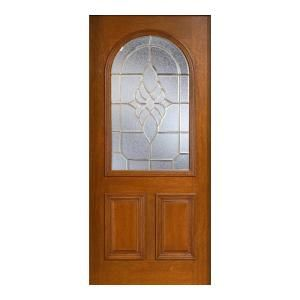 Main Door Mahogany Type Prefinished Cherry Beveled Brass Roundtop Glass Solid Wood Entry Door Slab SH 559 CH B
