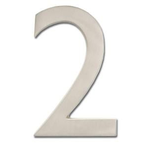 Architectural Mailboxes 4 in. Cast Brass Satin Nickel Floating House Number 2 3582SN 2