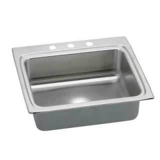 Elkay Gourmet Top Mount Stainless Steel 21x15x8 1/8 3 Hole Single Bowl Kitchen Sink with Perfect Drain LR2522PD3