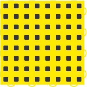WeatherTech TechFloor 12 in. x 12 in. Yellow/Black Vinyl Flooring Tiles (Quantity of 10) 51T1212 YL BK
