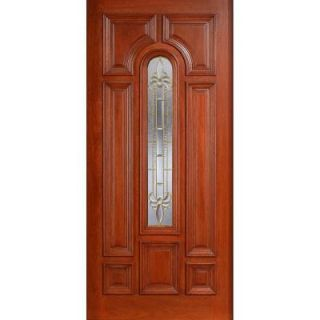 Main Door Mahogany Type Prefinished Cherry Beveled Brass Arch Glass Solid Wood Entry Door Slab SH 555 CH B