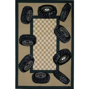 LA Rug Inc. Fun Time Tire Border Multi Colored 39 in. x 58 in. Area Rug FT 136 3958