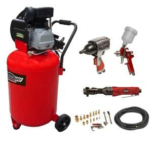 SPEEDWAY 20 Gal. Vertical Air Compressor with 20 Piece Air Tool and Accessory Kit 8463