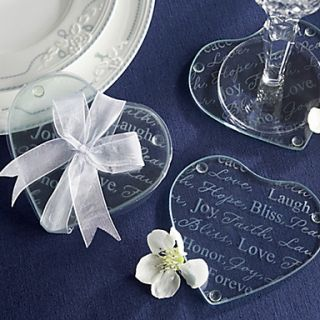 Good Wishes Heart Glass Coasters, Set of 2