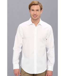 Perry Ellis Long Sleeve Twill Non Iron Shirt Mens Long Sleeve Button Up (White)