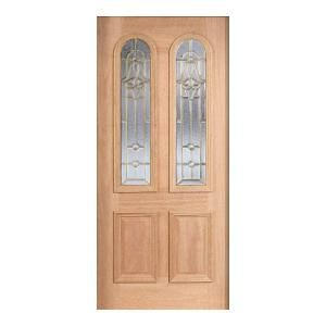Main Door Mahogany Type Unfinished Beveled Brass Twin Arch Glass Solid Wood Entry Door Slab SH 552 UNF B