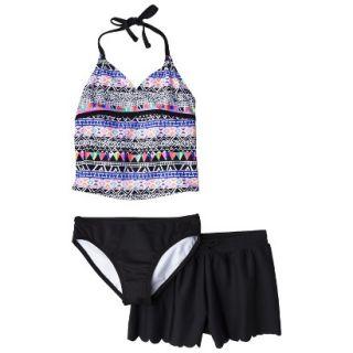 Girls 3 Piece Halter Tankini and Short Swimsuit Set   Black/Purple L