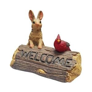 Call of The Wild 9 in. Bunny and Cardinal Welcome Sign 89860