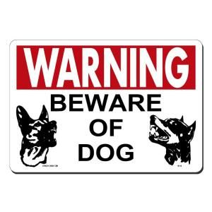 Lynch Sign 14 in. x 10 in. Red and Black on White Plastic Beware of Dog Sign W   8