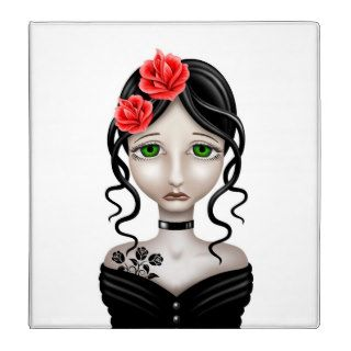 Sad Girl with Red Roses on White Binder