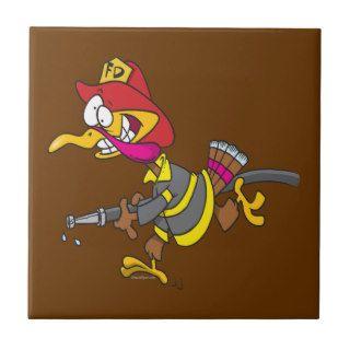 funny firefighter turkey cartoon tiles