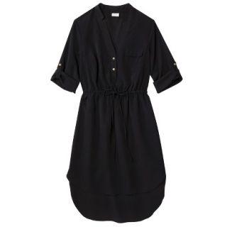 Merona Womens Drawstring Shirt Dress   Black   XXL