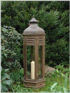 Große sechseckige Laterne aus Holz und Metall Höhe 117 cm L Garten