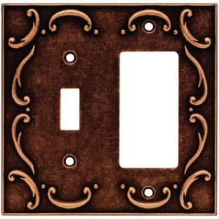 Liberty French Lace 2 Gang Switch/GFCI Wall Plate   Sponged Copper 64248