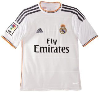 adidas Kinder Kurzärmliges Fußballtrikot Real Madrid Home Jersey, White/Lead/Light Orange, 176, G81137: Sport & Freizeit