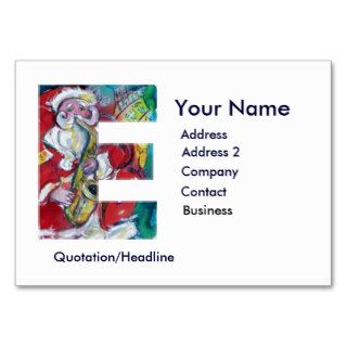CHRISTMAS E LETTER / SANTA CLAUS WITH SAX BUSINESS CARD TEMPLATE