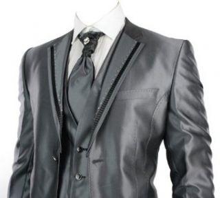 Feinster Herren Hochzeit oder Party Anzug 4 Teilig gefertigt aus feinem Grau Seidenglanz Poleyster mit Schwarzen End Glanz: Bekleidung