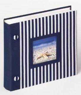 Walther ME 154 L Einsteck Album Stripe, Leineneinband mit Ausstanzung für persönlichen Namen, mit Beschriftungsfeldern für 200 Fotos 10 x 15 cm blau: Küche & Haushalt