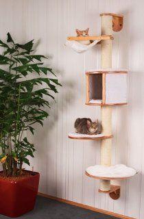 Wandkratzbaum aus Holz mit Plüsch Kissen 168 x 75 x 65 cm mit Hängematte und Höhle Sisal Stamm 11 cm Designer Kratzbaum für Katzen Katze Wandbaum Kletterbaum klettern spielen kuscheln waschbar platzsparend für die Wand Erziehung Spielzeug Wandmontage